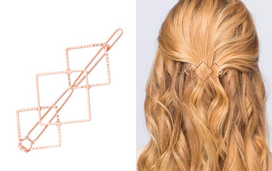 pasador de pelo de rombos dorados