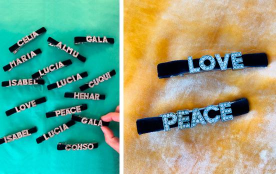 pasadores de pelo con letras personalizables