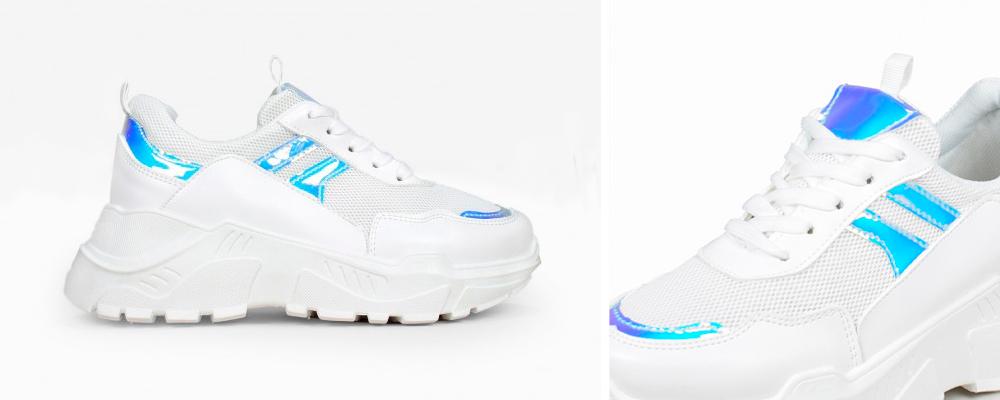 zapatillas blancas e iridiscentes