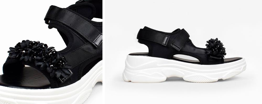 sandalias negras de plataforma deportiva y brillantes