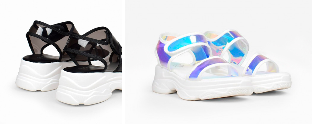 sandalias de suela deportiva. negras e iridiscentes