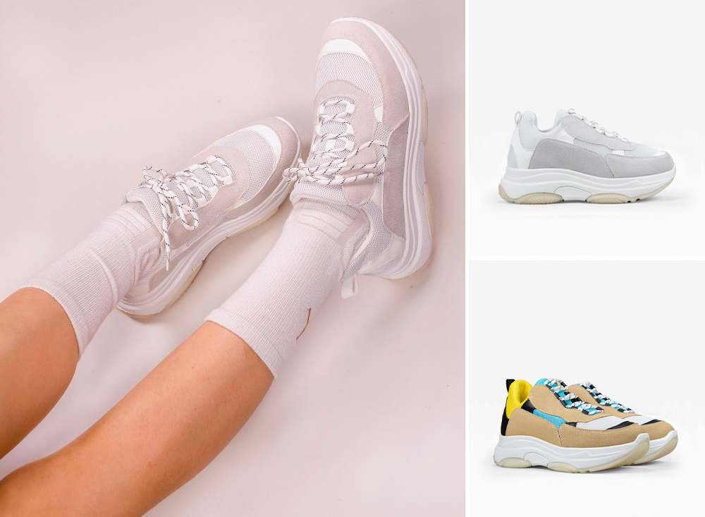 zapatillas color gris y tricolor amarillo