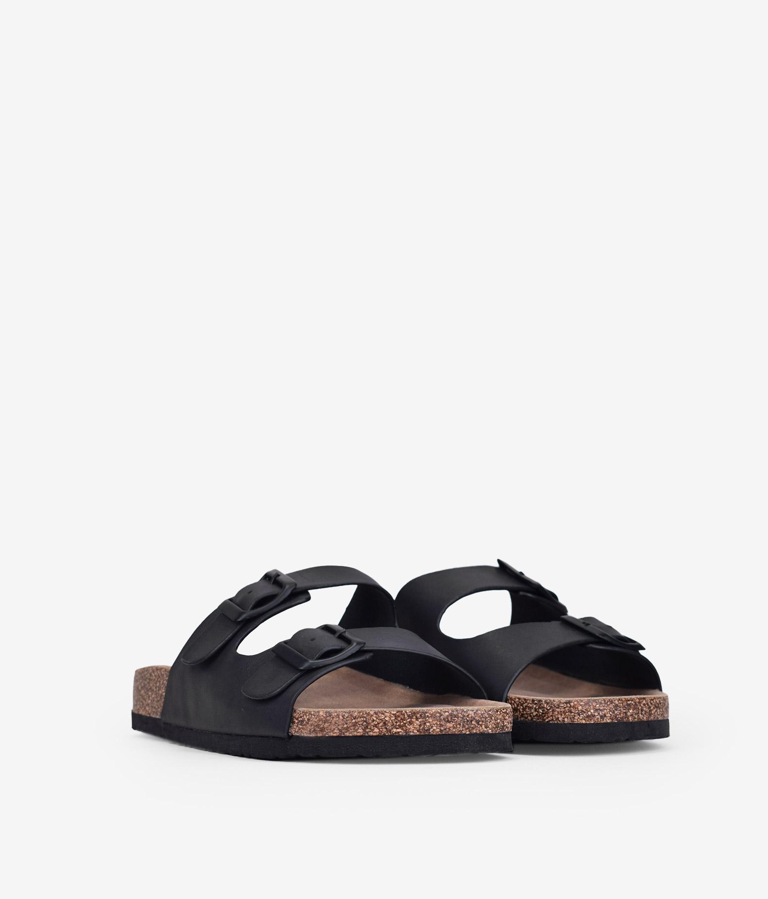 sandalias bio planas negras